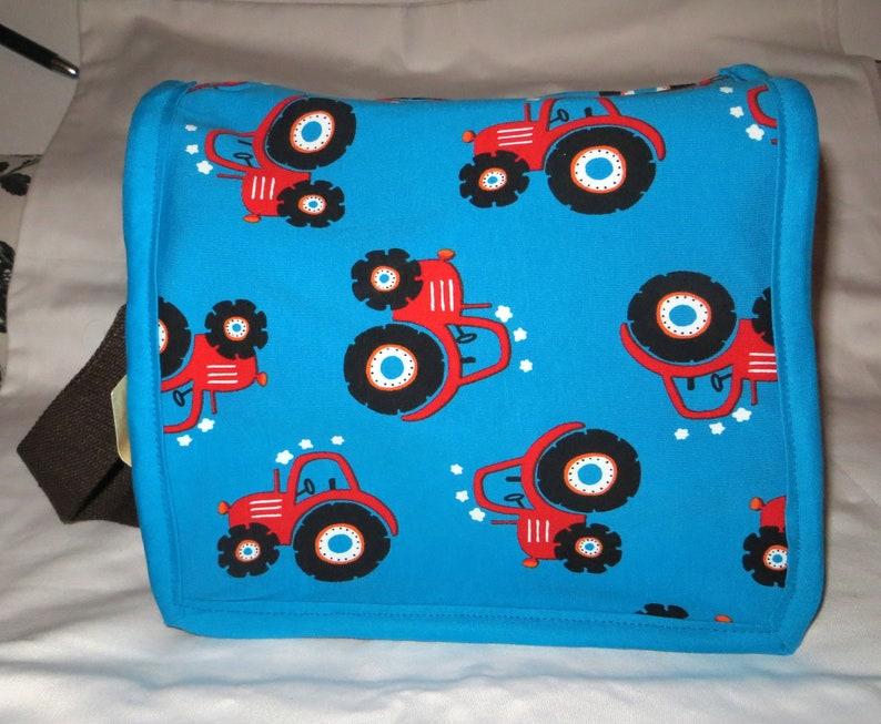 Set of kindergarten bag and gym bag tractor brown image 0