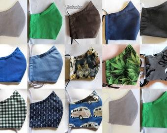 Men's mouthguard 3-layer with filter pocket,2fold med. PP fleece, noseband, washable, eyewear carrier, mask in 2 sizes