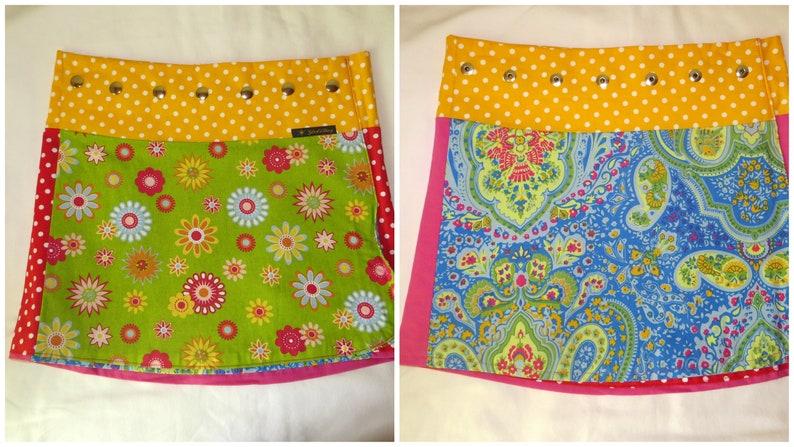 Summer reversible skirt short two sides Happy Flower  image 0