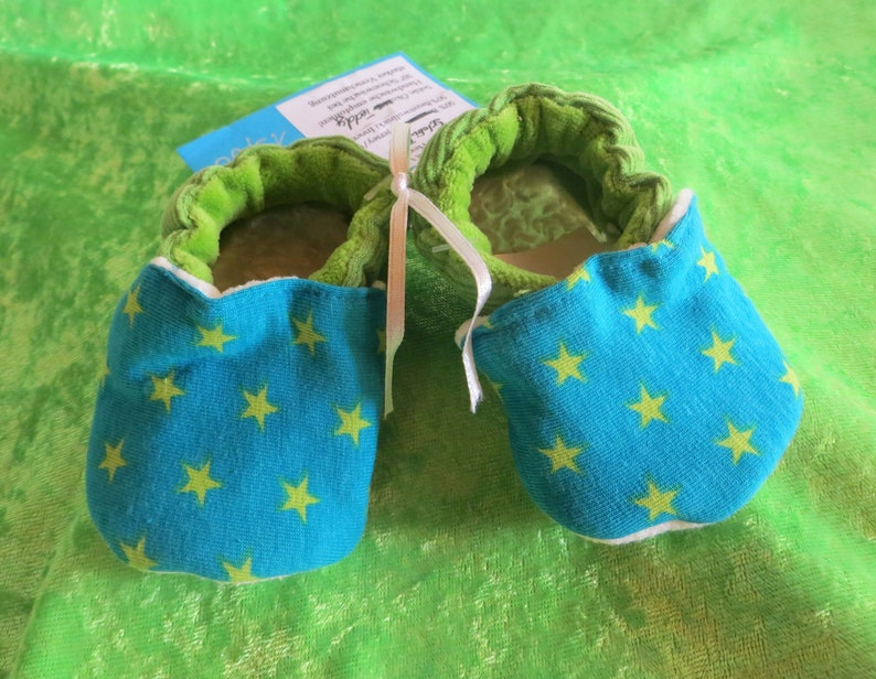 Booties green Stars from size 16-28 kids slippers toddlers image 0