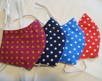 Mouthprotection mask dots, 3player with filter pocket,2fold med. PP fleece, noseband, washable, eyeglass wearer, mask in 3 sizes