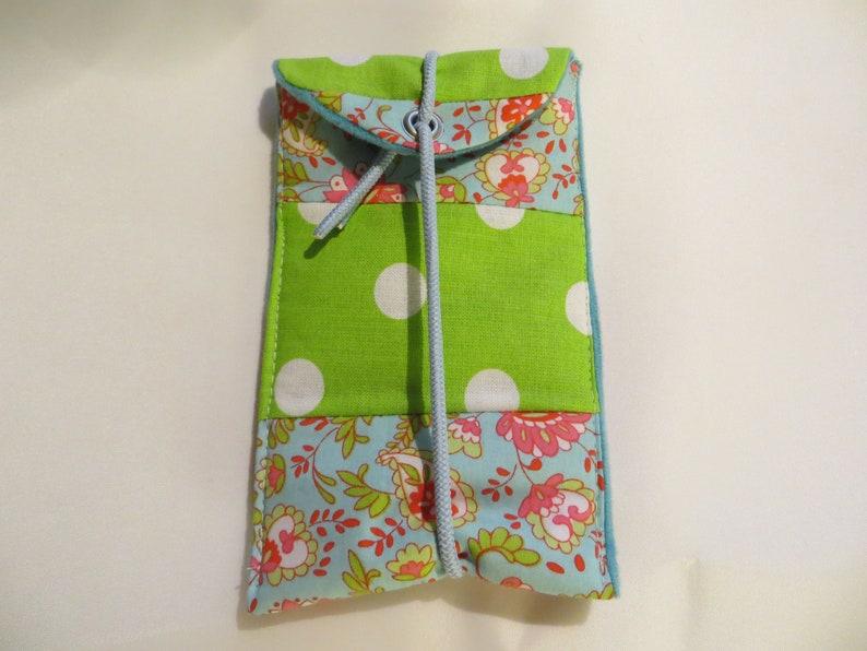 Mobile  I Phone  Bag M 13x8cm Lovely fabric mix padded image 0