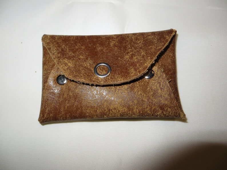 Leather business card holder  buffalo vintage brown  purse image 0