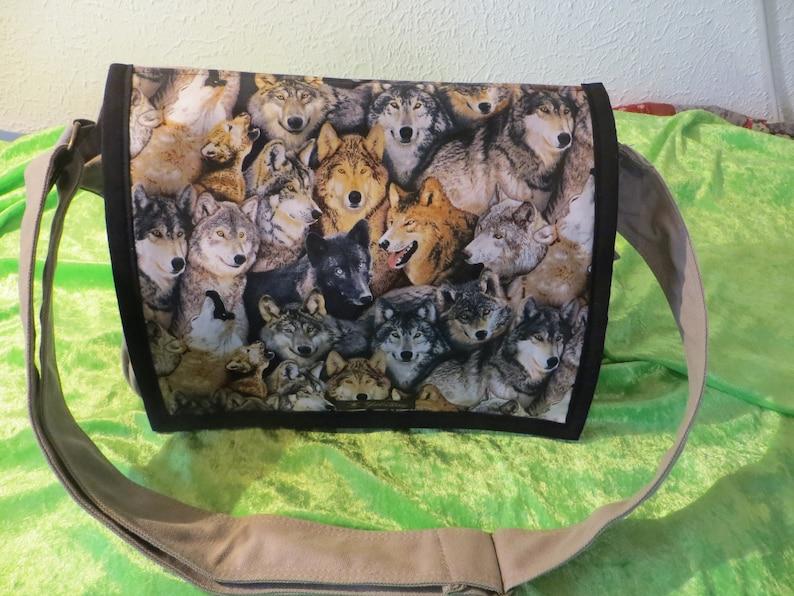 Shoulder bag big wolves camel beige laptop school bag image 0