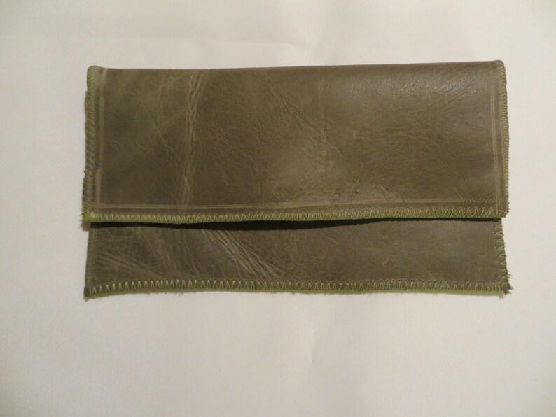 Tobacco bag leather olive or mobile phone pocket image 0