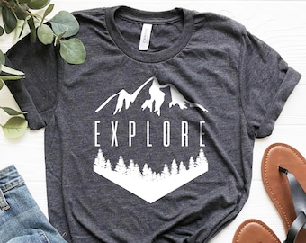 227fcf743 Hiking Shirt ∙ Explore Mountains Shirt ∙ Hike Shirt ∙ Adventure Shirt ∙  Outdoor Shirt ∙ Mountain Shirt ∙ Trendy Tee ∙ Softstyle Unisex Shirt