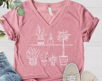 House Plants Plant Shirt, Oversized Slouchy, V Neck Tee, Loose Tshirt, Boho Gift For Her