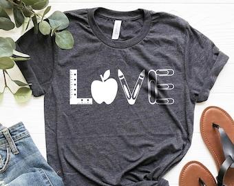 f894b1c68 Love Teacher Shirt - Teacher T-shirt - Teacher Tees - Unisex or Women's -  Cute Teacher Shirts - Teacher Appreciation Gift