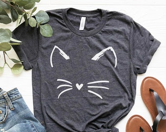 85b7808b9a4 Cat Shirt Kitty Kitten T Shirt Tee Mens Womens Ladies Funny Present I Love  Cats Animal Lover T-shirt Whiskers Face Girlfriend Fashion Cute