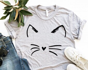c7625765 Cat Shirt Kitty Kitten T Shirt Tee Mens Womens Ladies Funny Present I Love  Cats Animal Lover T-shirt Whiskers Face Girlfriend Fashion Cute