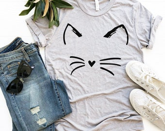 deb2f2609ed Cat Shirt Kitty Kitten T Shirt Tee Mens Womens Ladies Funny Present I Love  Cats Animal Lover T-shirt Whiskers Face Girlfriend Fashion Cute