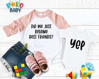 Baby Bodysuit, Did We Just Become Best Friends? Yep! Twin Matching, Best Friend, Brother, Sister, Sibling, Baby Shower Gift, Matching Shirts