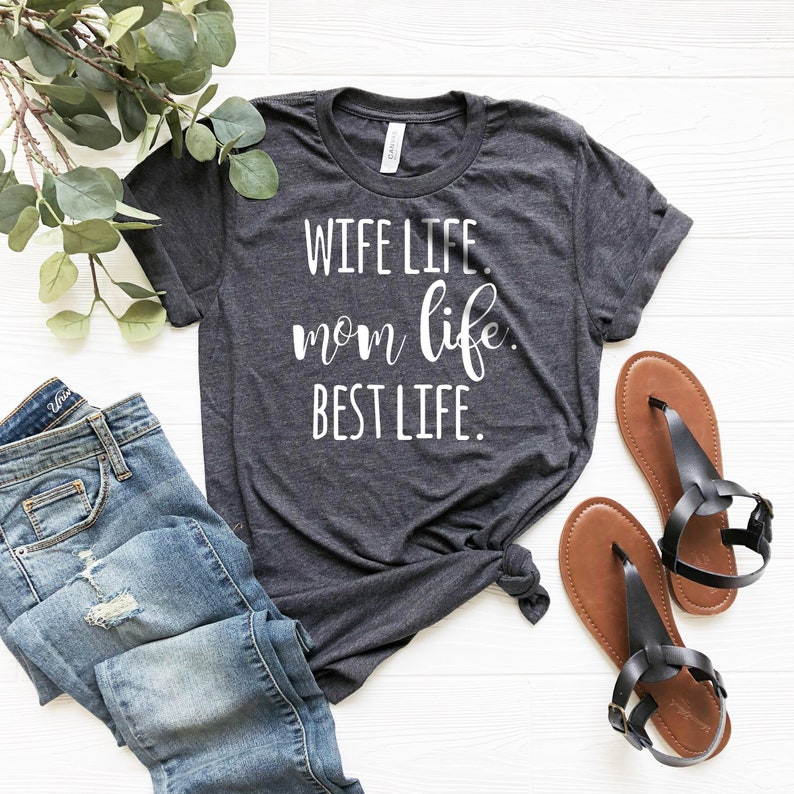 Wife Mom Boss Women/'s V-Neck Mother/'s Day Mom Life New Mom For Mom For Wife Tee