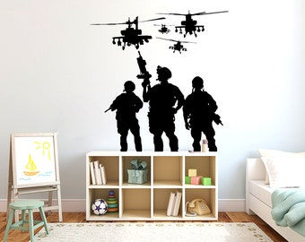 HELICOPTER wall sticker army aeroplane airplane boys bedroom stickers decal