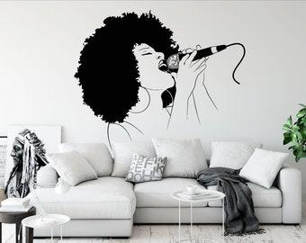 Wall Vinyl Decal Art Sticker Singer Girl Woman Singing Microphone Music Karaoke Removable Mural Unique Design 50
