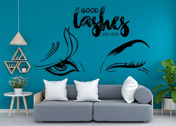 Beauty wall decor Custom Salon Manicure Hair Nails Eye Lashes decal Women Girl Room Gifts Her Vinyl Wall Art Decals Kids Stickers 862ER