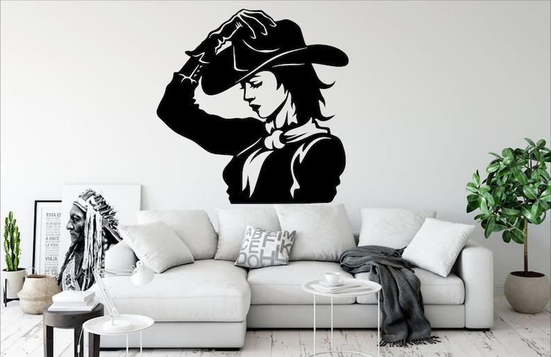 Cow Girl wall art Beautiful girl Beauty wall decor Western Girls and guns women decal Room Gifts Her Vinyl Wall Art Decals Stickers 2075ER
