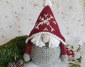 Red Christmas gnome, Cute Scandinavian dwarf, Gift for new home, Crocheted handmade nordic gnome decor, farmhouse decor