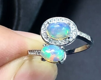 Welo Ethiopian Opal 925 Silver Ring Natural Triplet Opal Thin Dainty Ring