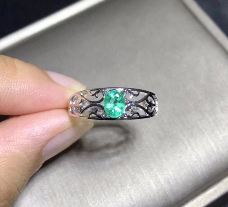 Wedding Ring 925 Sterling Silver Emerald Ring Emerald Bridal Ring Silver Ring Luxury Ring Emerald Engagement Ring Gift For Her
