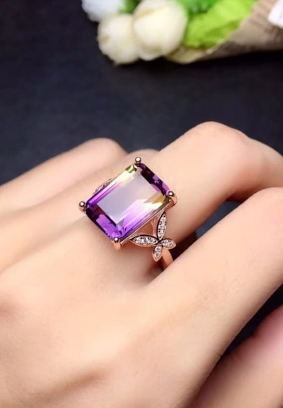 Natural Amethyst Ring 925 sterling silver ring,February birthstone ring Oval Cut 10*14 mm ring,Amethyst engagement ring Luxury RingBand