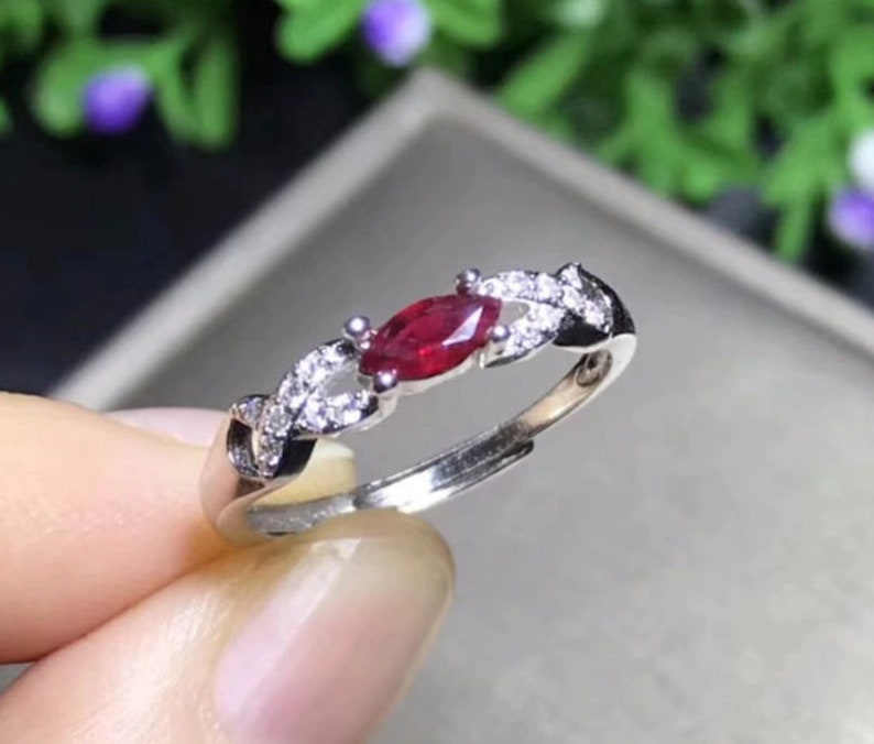 marquise cut 3mmX6mm Natural Ruby ring,925 Sterling Silver,Handmade silver Ruby jewelry,Ruby engagement ring,Gift rings
