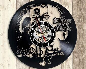 nightmare before christmas vinyl wall clock jack and sally decor nightmare christmas birthday gift jack and sally kids christmas gift idea