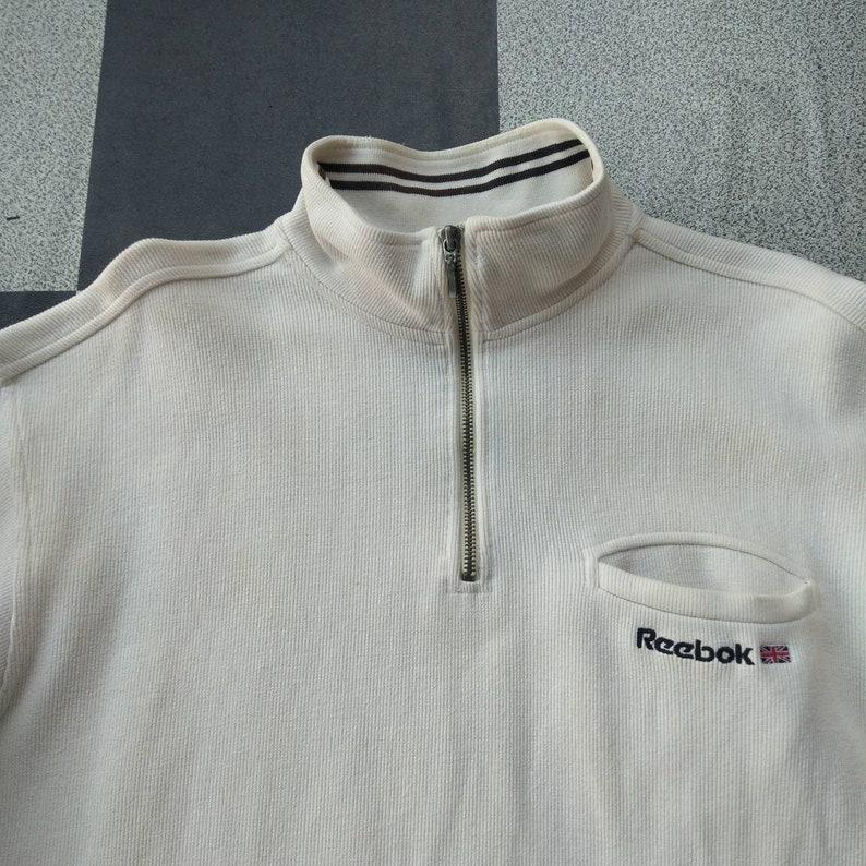 Vintage 90s Reebok Quarter Sweatshirt White Colour Large Size Rare Item