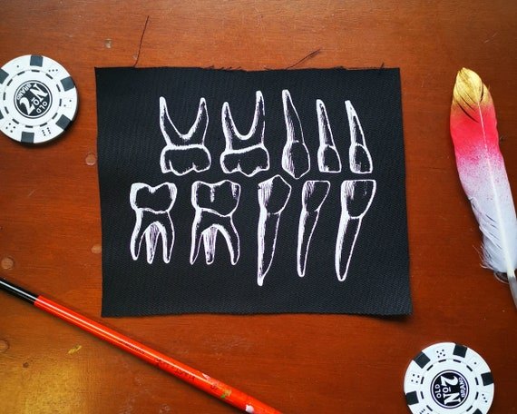 Screen Printed Canine Tooth Patch by Etsy