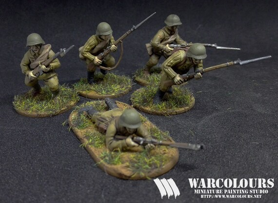 28mm WW2 Russian Soviet  Rifle Squad 01 Bolt Action Chain of Command