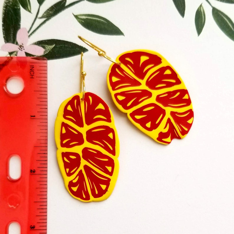 Lightweight Earrings HandCrafted HandMade Red and Yellow Polymer Clay Dangle Earrings Leaf Style Earrings HandPainted Art Jewelry