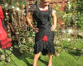 One Off Black Vintage Flamenco Style Dress. Sexy Lace Ruffles. Fitted Wiggle Skirt with Red Floral Spanish Detail Goth Halloween Dance Stage