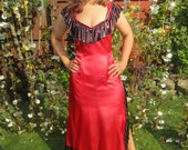 3 x Available Lots Long Red Theatrical Dress with Black Ruffle Slit Plunge Neckline Sexy Wiggle Dress. Long Length Halloween Dance Stage
