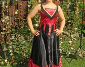 One Off Red Black Theatrical Burlesque Style Vintage Dress High Quality Restored Western, Showgirl Gown Midi Length. Halloween Dance Stage