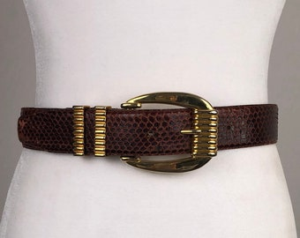 wide leather bow belt with snakeskin detail