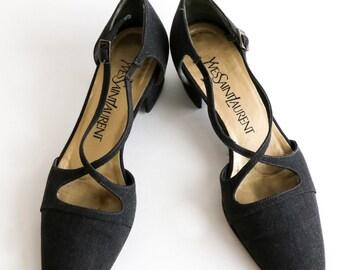 218376e9705 YVES SAINT LAURENT Size 6 / 1990s Vintage Denim Cross Strap Heels / 90s Low  Kitten Block Heels