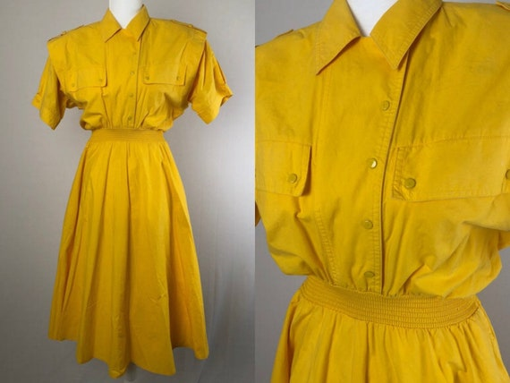 size 12 80s cotton button up short sleeved summer dress size 14 vintage