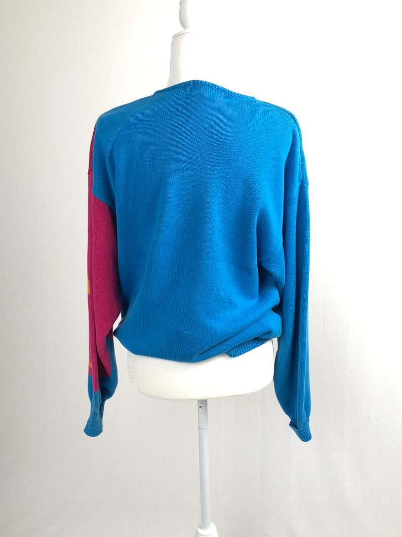 Vintage bird sweater bright pink and blue vintage cotton sweater animal sweater size small