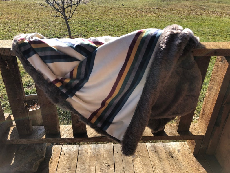 Cream Campfire Stripe Fur Blanket