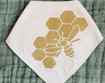 Baby Bee Bandana Drool Bib - Baby Bib, Baby Shower Gift, Bandana Bib, Baby Gift, Unisex Baby Gift, Baby Drool Bib