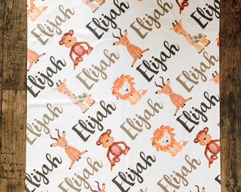 Zoo/Safari Animals Custom Baby Name Blanket - Baby Shower Gift, New Baby Gift, Baby Blankie, Swaddle