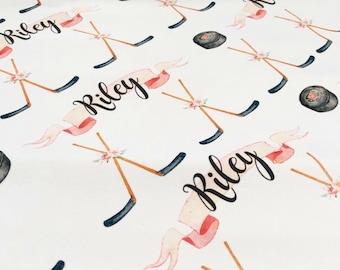 Girly Hockey - Hockey Girl - Custom Baby Name Blanket - Baby Shower Gift, New Baby Gift, Baby Blankie, Swaddle