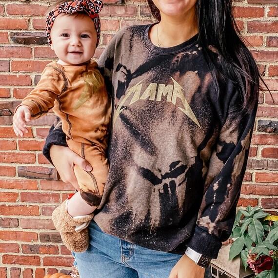 Rock On Mama Pullover - Mama Sweatshirt - Rocker Mama Sweatshirt, Bleach Dye Hoodie