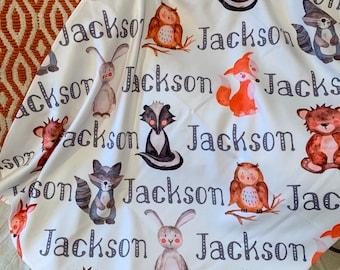 Woodland Animal - Woodland Theme, Custom Baby Name Blanket - Baby Shower Gift, New Baby Gift, Baby Blankie, Swaddle