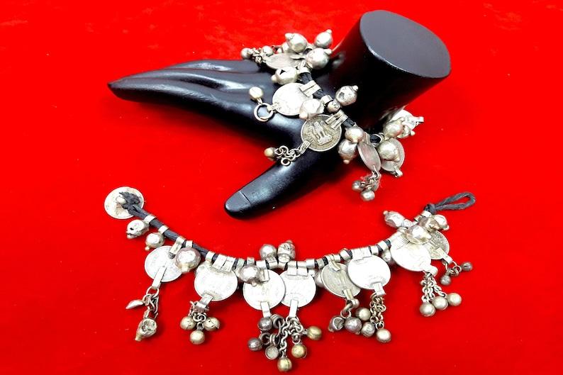 ANKLET ethnic bracelet belly dance,Vintage Kuchi Beaded Metal Gypsy Jewelry Old Banjara coins PAIR Tribal Arm Band Bracelet or bangle