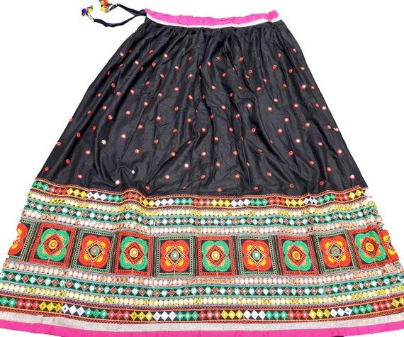 vintage kuchi collectible mirror rabari banjara tribal ethnic belly dance skirt,Hand embroidered heavy cotton skirt flared Indian banjara