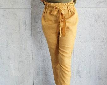 a20042dab3e4 High Waist Pants, Linen Trousers, Linen pants, 100% pure linen , Flax pants,  Linen trousers,made to order, tie belt