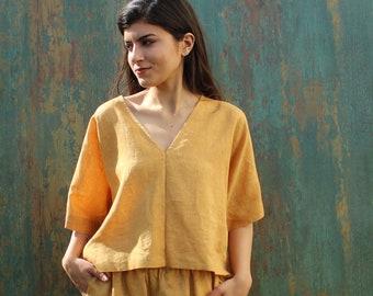Deep V-Neck Loose T-Shirt Linen Blouse Everyday Top Natural Linen Blouse Women Linen Blouse Casual Linen Top Loose Fit Linen Shirt