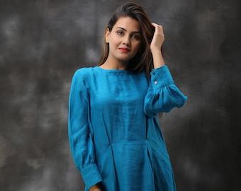 Linen Dress 100% Pure Linen Flax Dress Tunic Dress Washed Linen Overalls