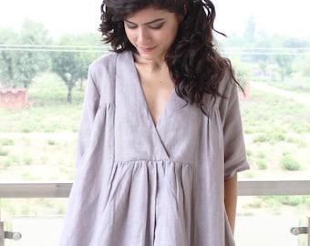 Loose fitted linen dress  pure Linen dress Washed linen clothing   Linen dress Linen tunic Plus size tunic top  loose linen tunics